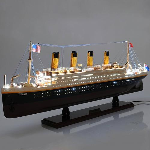 Handcrafted ship model from wood of the Titanic (equipped with light)