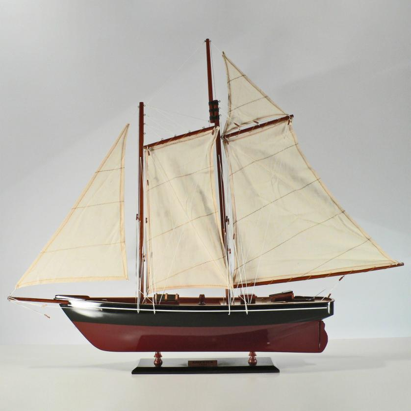Handcrafted sailing ship model of the America