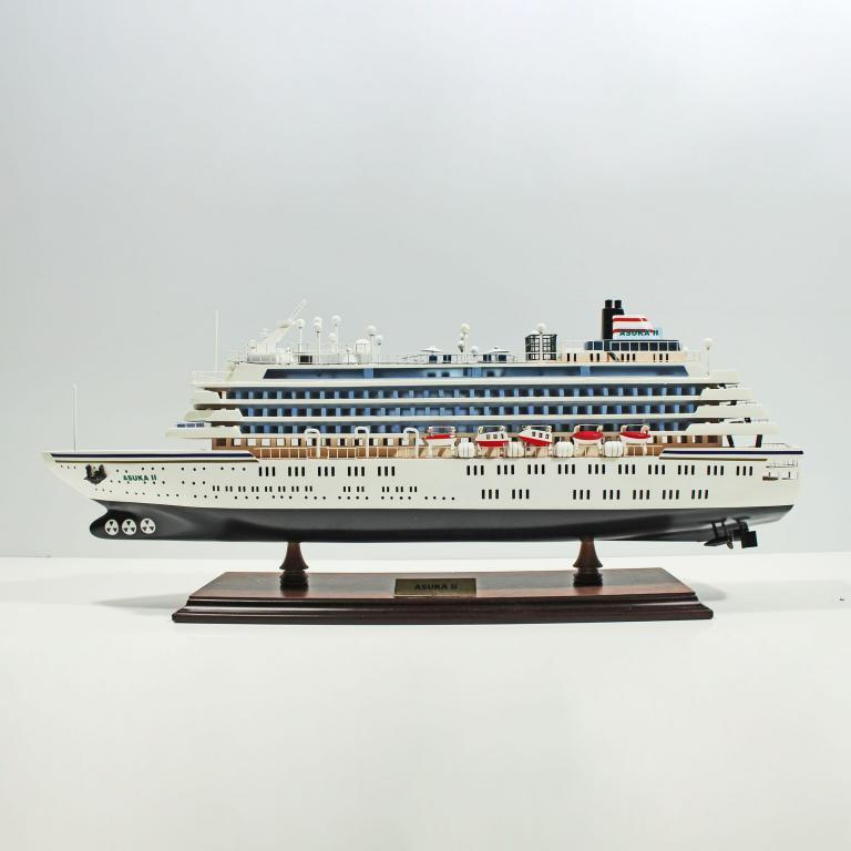 Handmade wooden cruise ship model of the Asuka 2