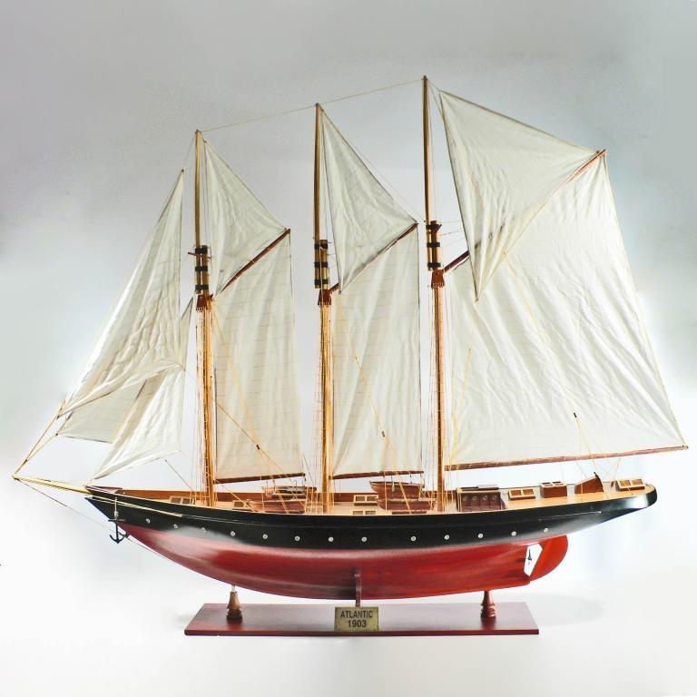 Handcrafted sailing ship model of the Atlantic