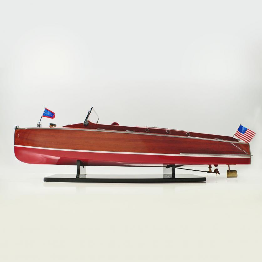 Handmade speed boat model of the Chris Craft Runabout