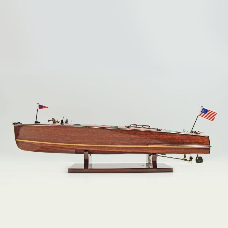Handmade speed boat model of the Chris Craft Triple Cockpit