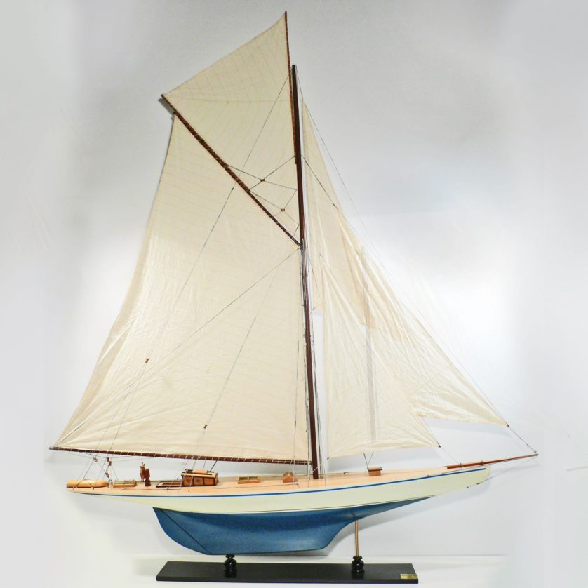 Handcrafted sailing ship model of the Defender