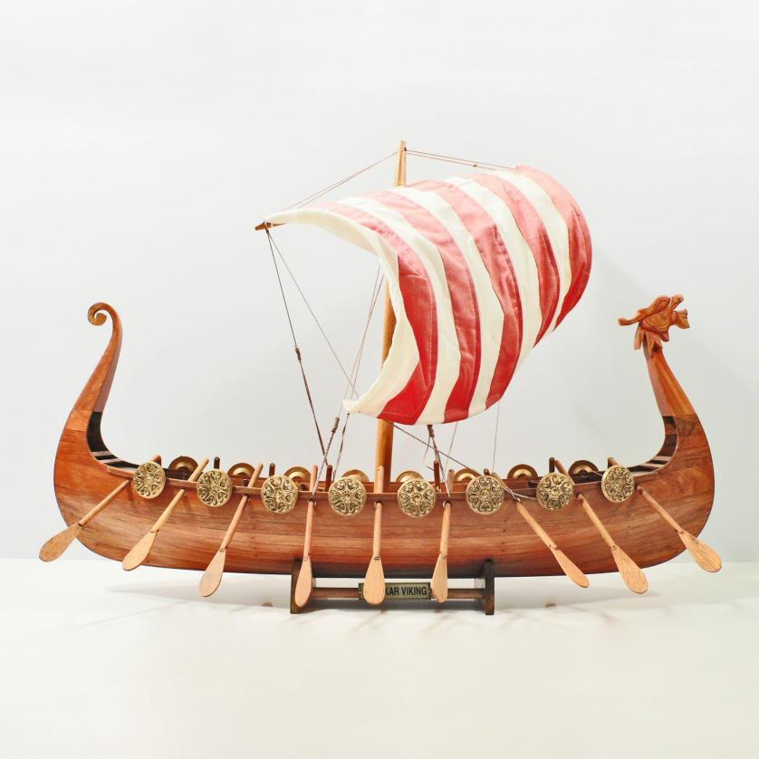 Handcrafted ship model from wood of the Drakkar Viking