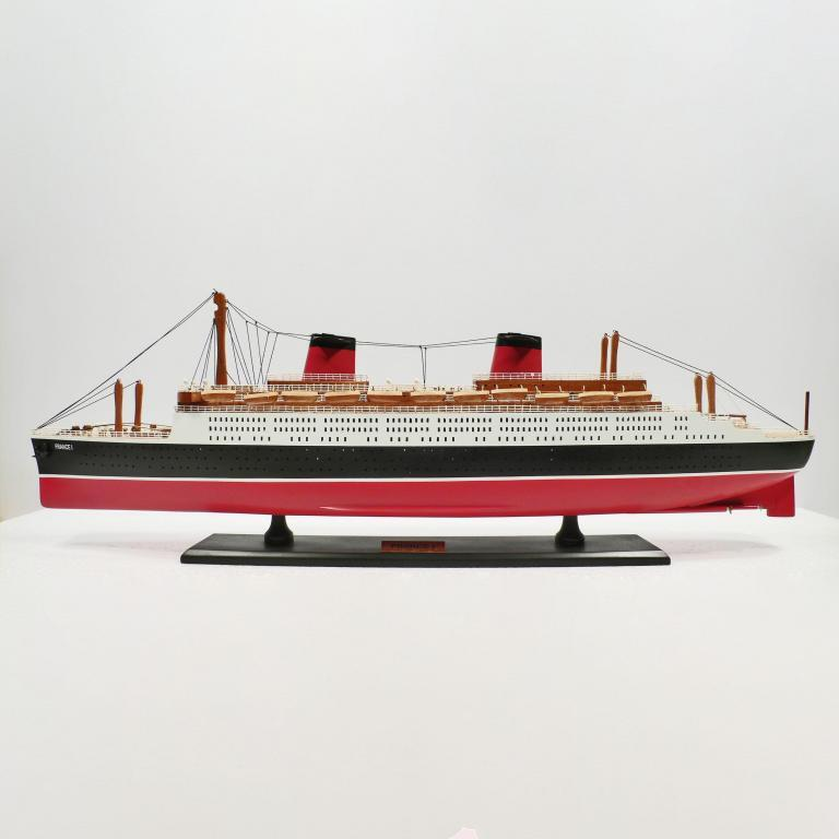 Handmade wooden cruise ship model of the France 1