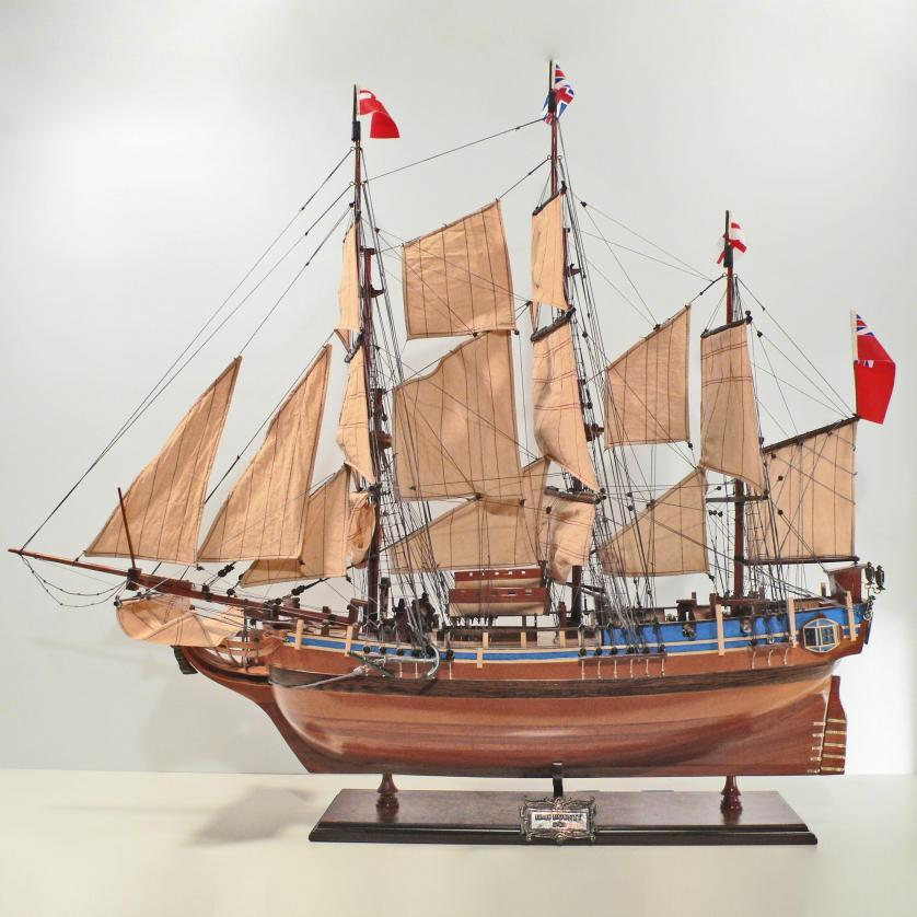 Handmade historical sailing ship model of the HMS Bounty