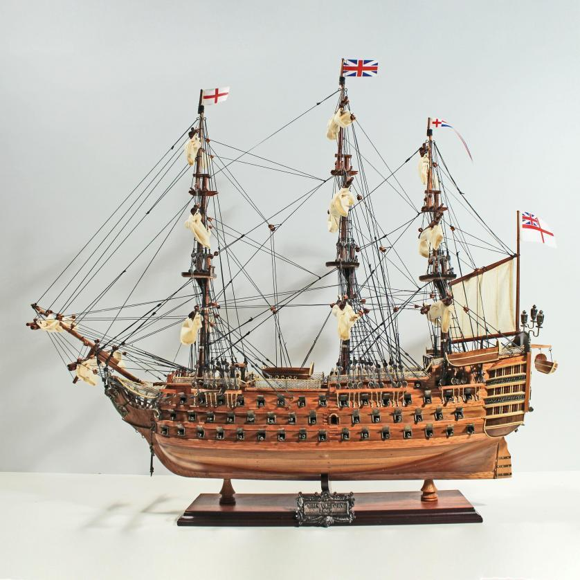 Handmade historical sailing ship model of the HMS Victory