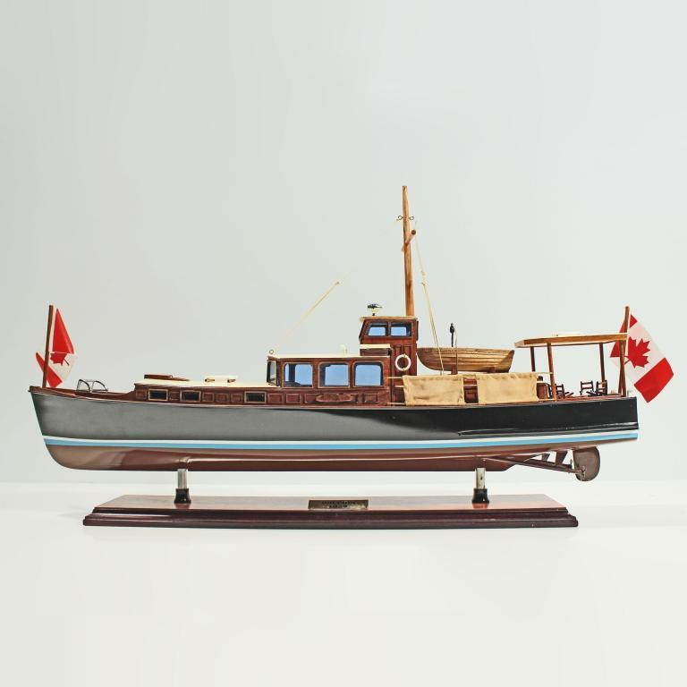 Handcrafted ship model from wood of the Dolphin