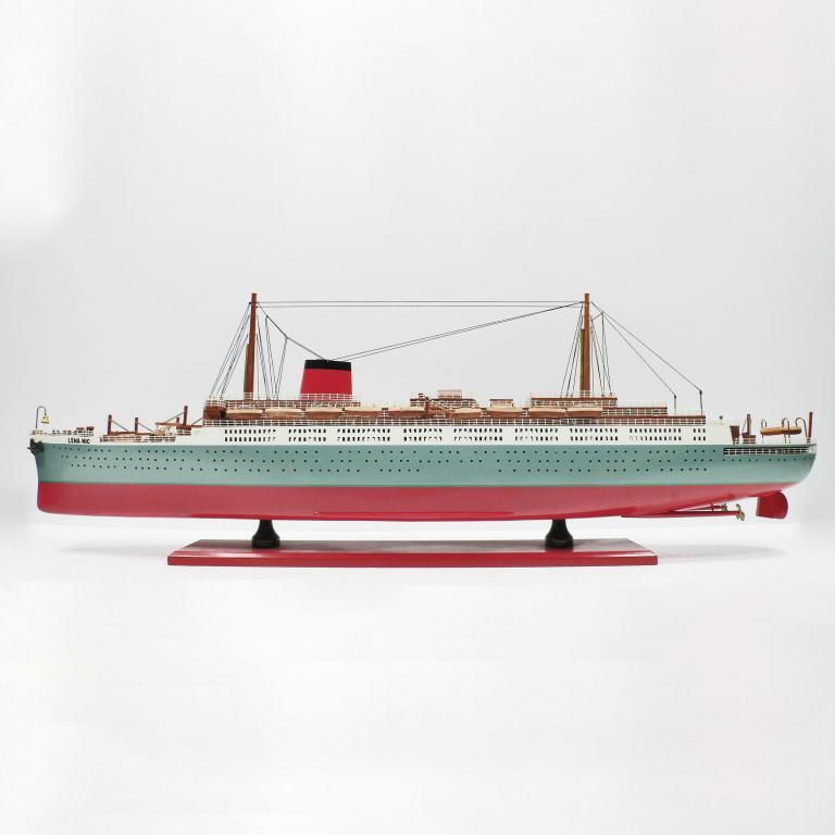 Handmade wooden cruise ship model of the Lenanic