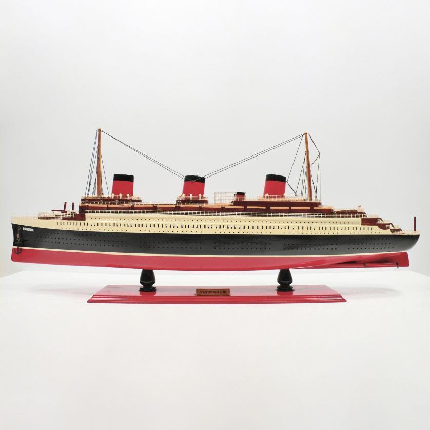 Handmade wooden cruise ship model of the Normandie