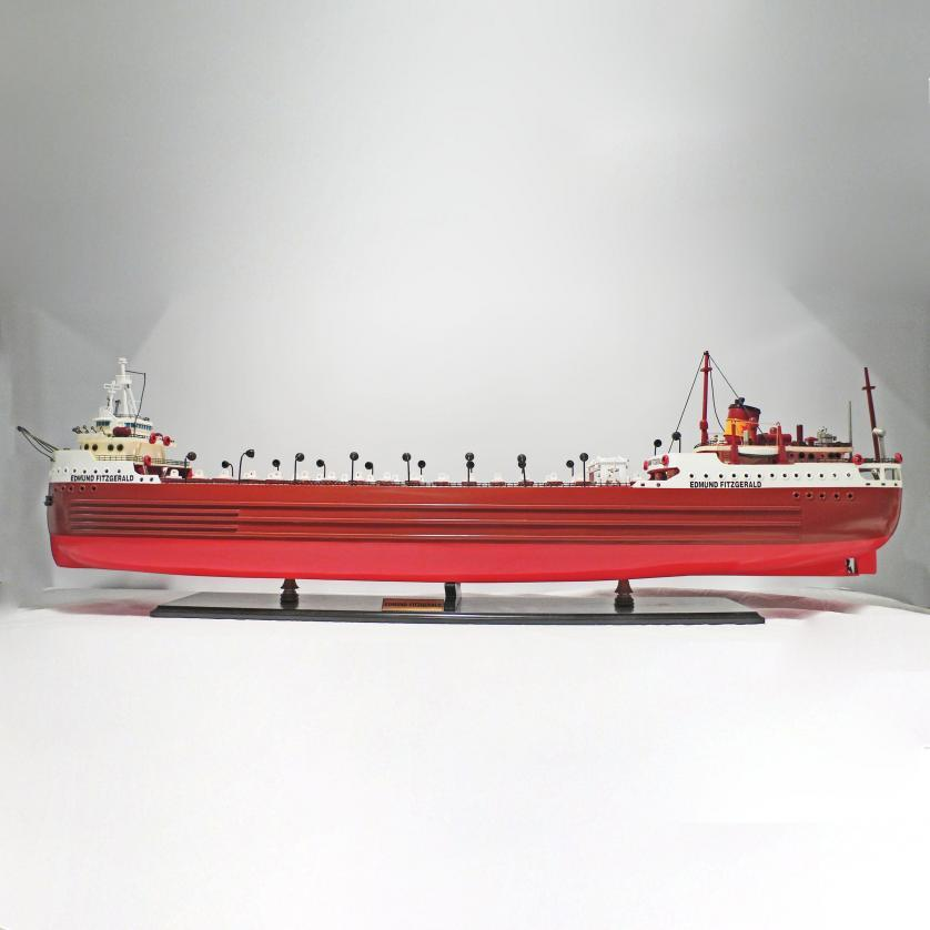 Handcrafted ship model from wood of the Edmund Fitzgerald