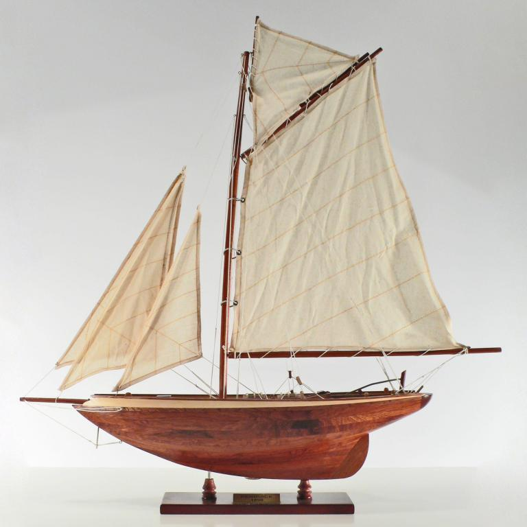 Handcrafted sailing ship model of the Pen Duick