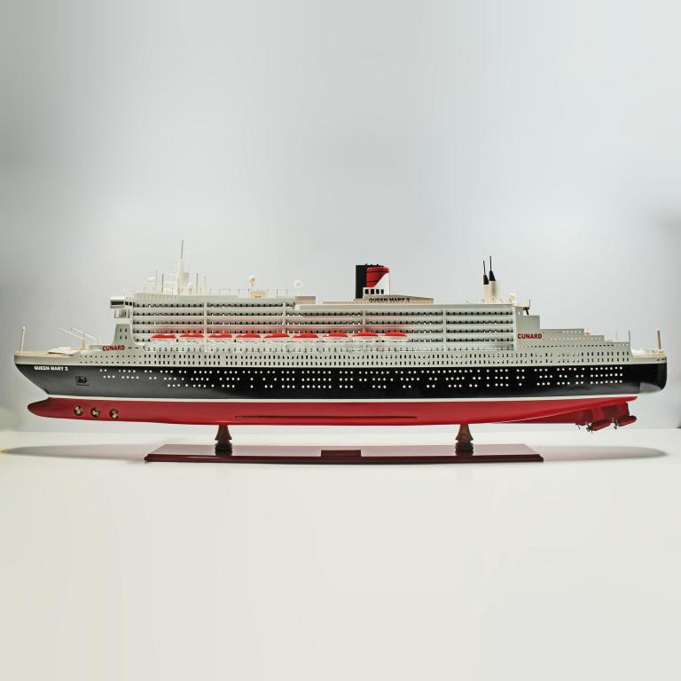 Handmade wooden cruise ship model of the Queen Mary 2
