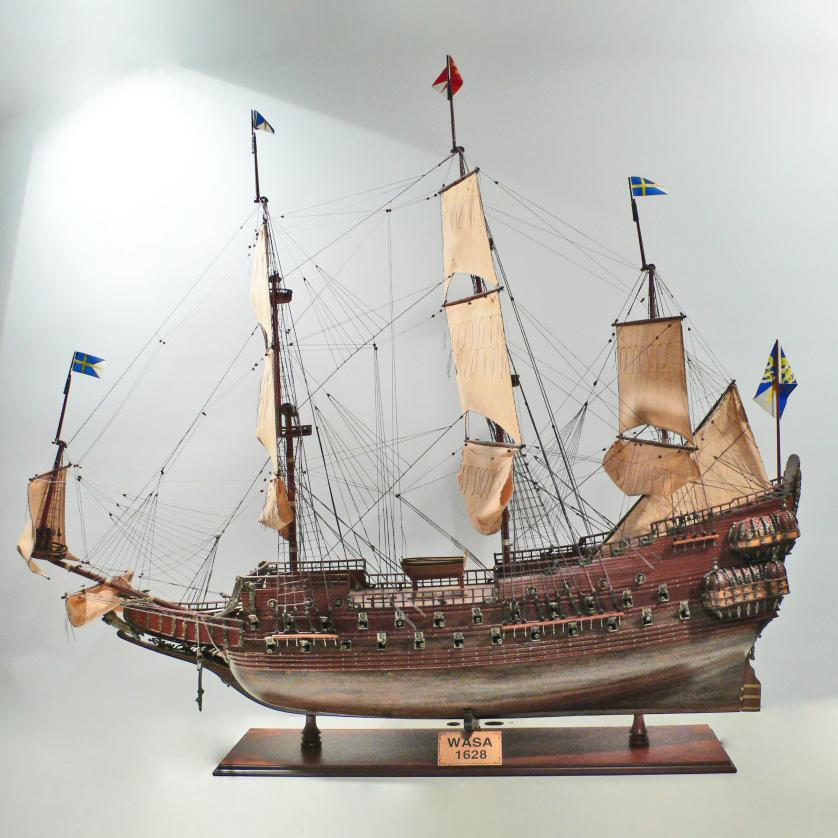 Handcrafted ship model from wood of the Wasa