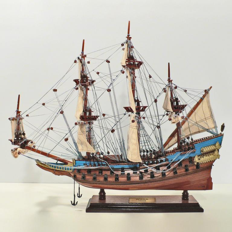 Handcrafted ship model from wood of the Wasa (blue)