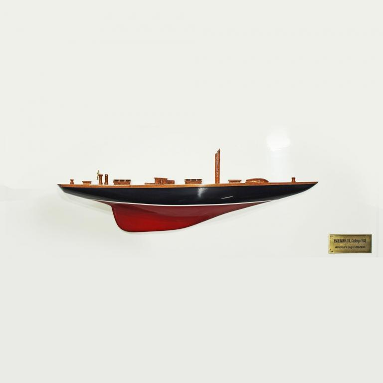 Handmade half model from wood of the Endeavour