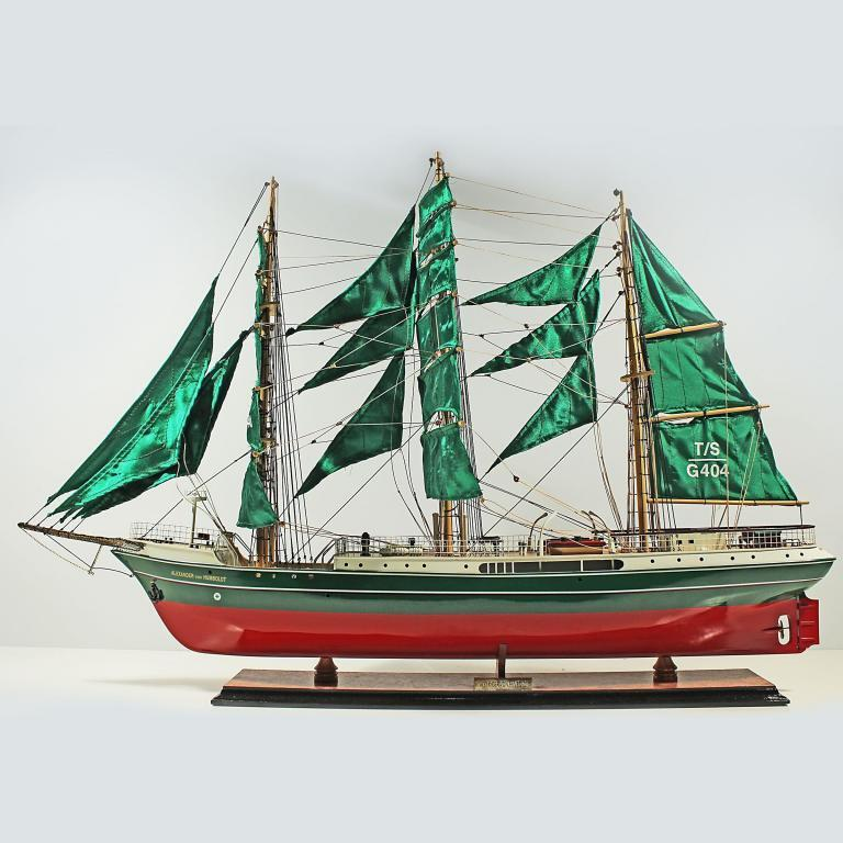 Handmade historical sailing ship model of the Alexander von Humboldt