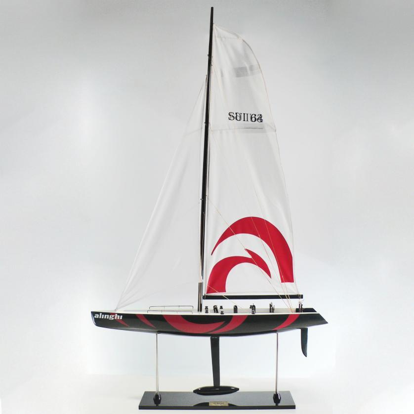 Handcrafted sailing ship model of the Alinghi