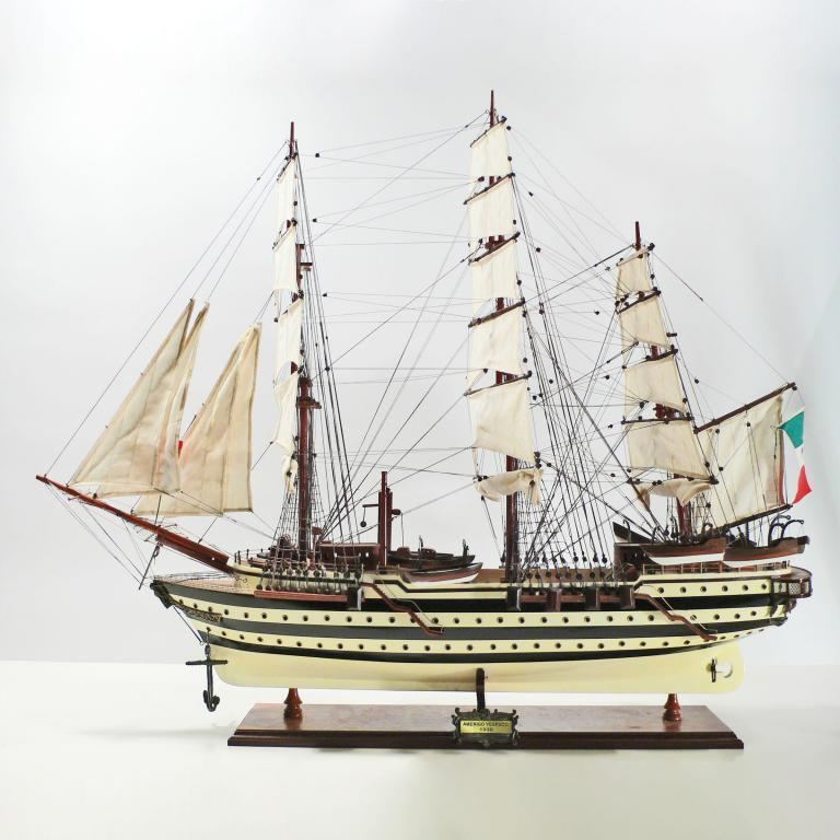 Handmade historical sailing ship model of the Amerigo Vespucci