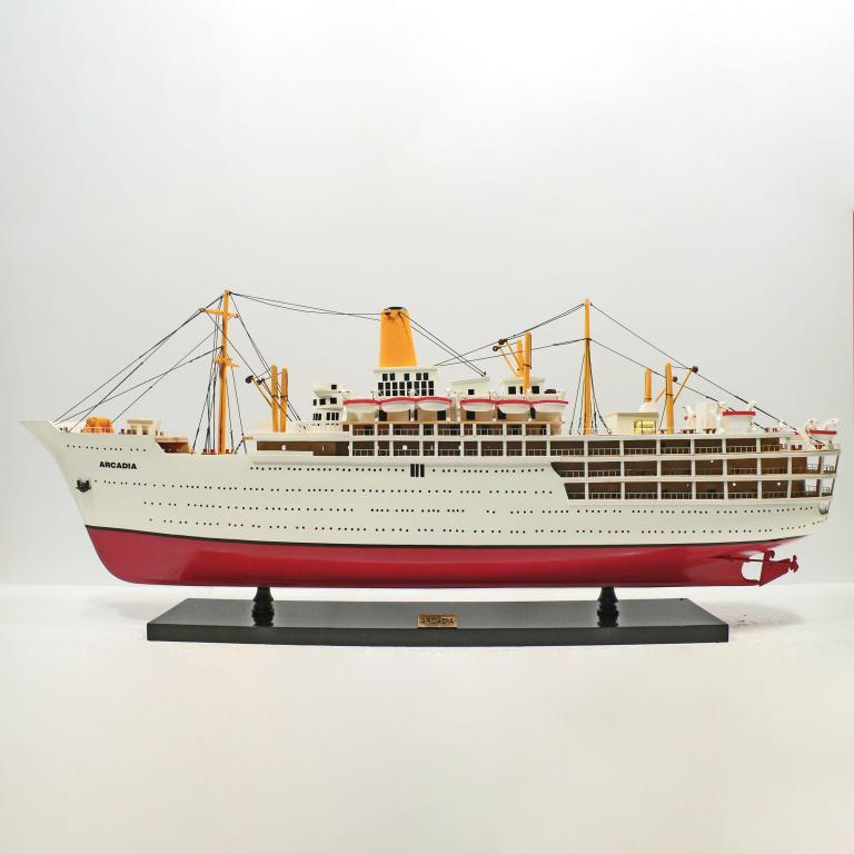 Handcrafted ship model from wood of the Arcadia