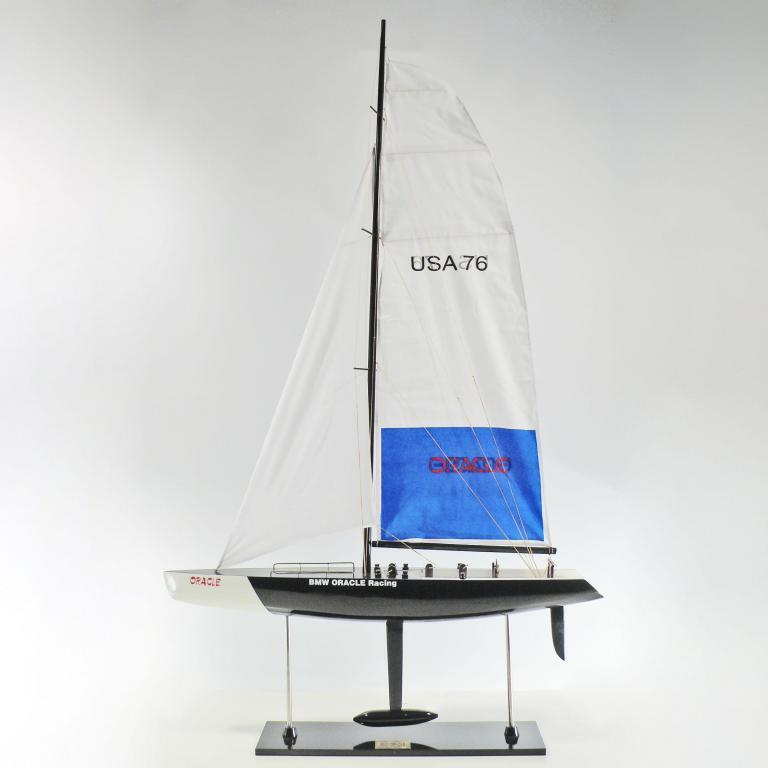 Handcrafted sailing ship model of the BMW Oracle