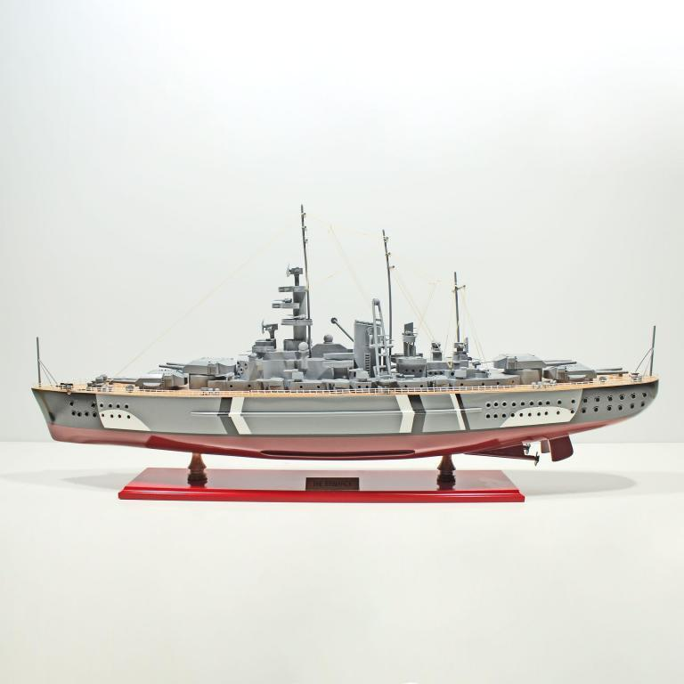 Handcrafted sailing ship model of the Bismarck