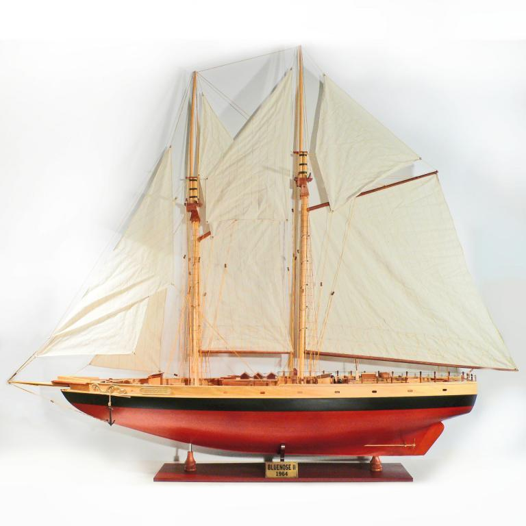 Handcrafted sailing ship model of the Bluenose II