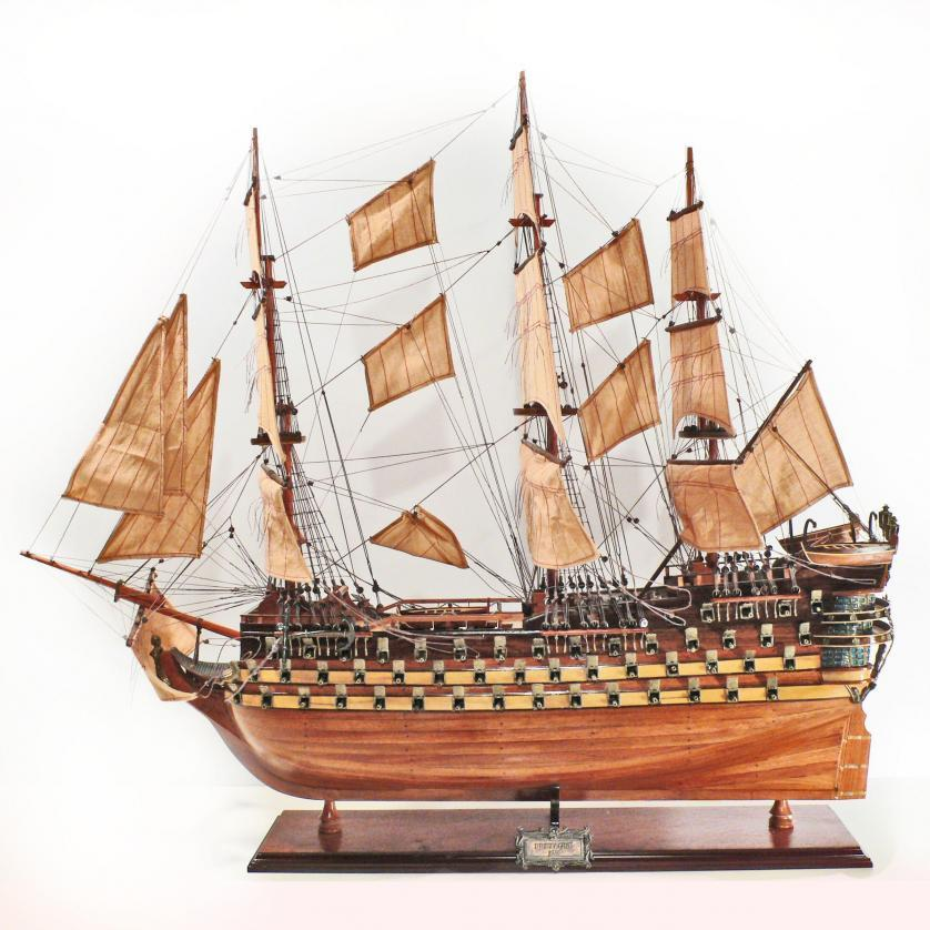 Handmade historical sailing ship model of the Bretagne