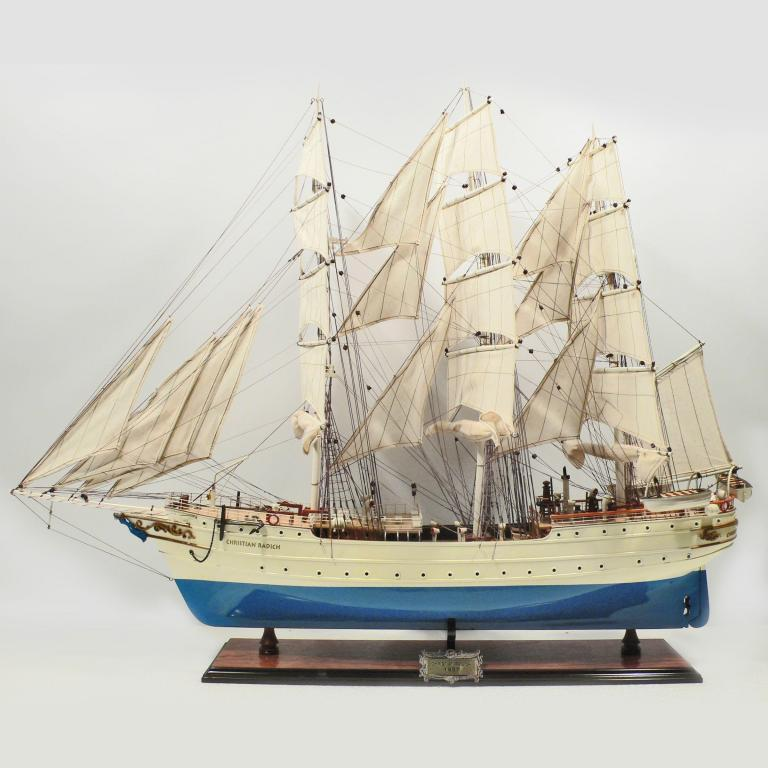 Handmade historical sailing ship model of the Christian Radich