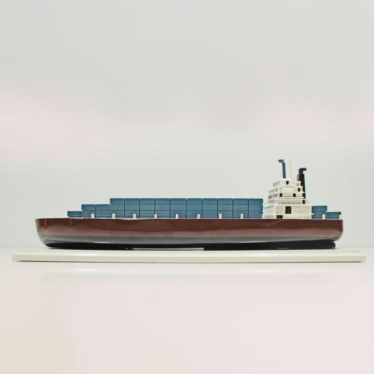 Handmade wooden cargo ship model