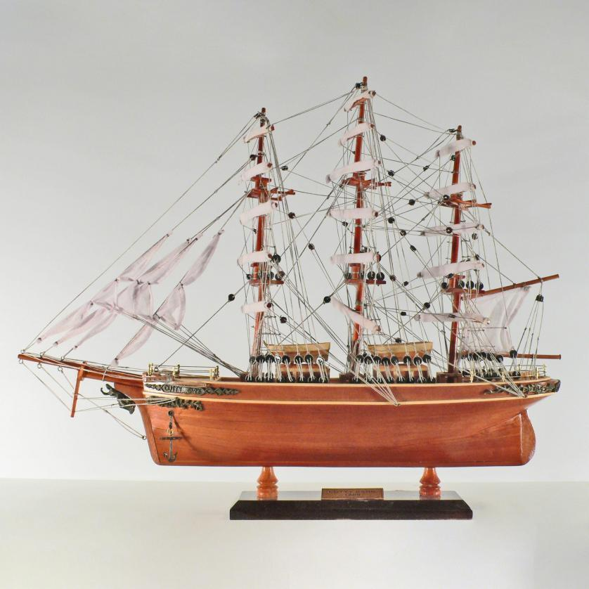 Handmade historical sailing ship model of the Cutty Sark