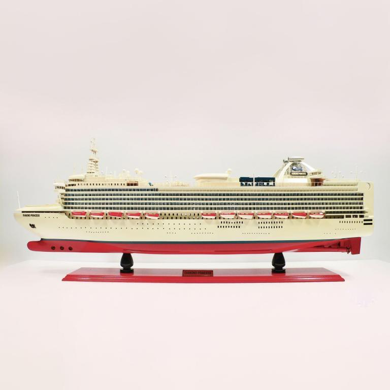 Handmade wooden cruise ship model of the Diamond Princess