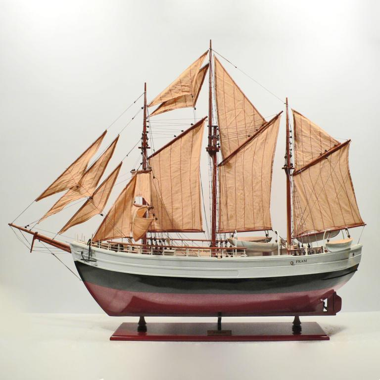 Handmade historical sailing ship model of the Fram