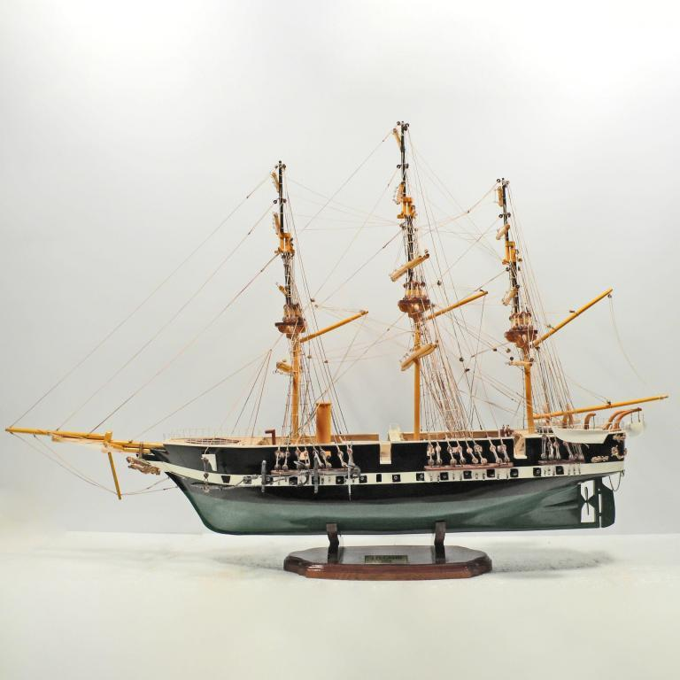 Handmade historical sailing ship model of the Fregatten Jyland