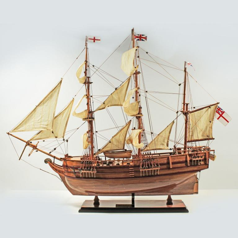 Handmade historical sailing ship model of the HMS Beagle