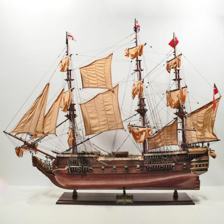 Handmade historical sailing ship model of the HMS Surprise
