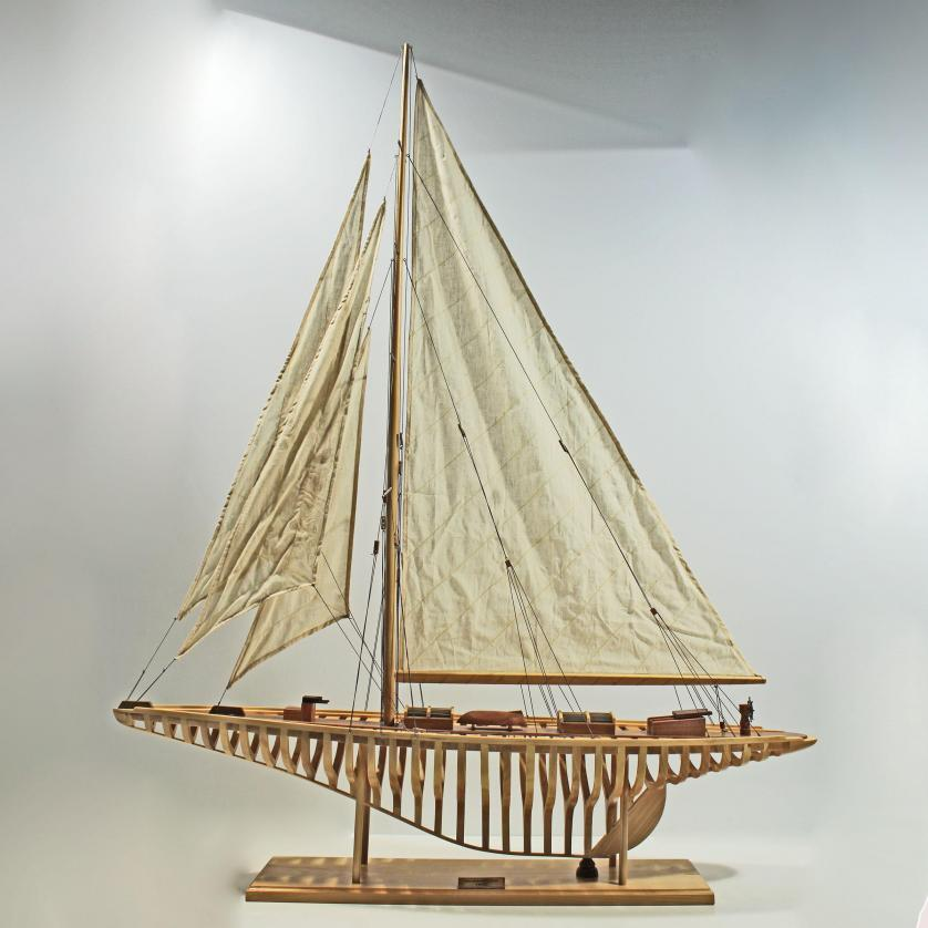 Handcrafted sailing ship model of the Shamrock