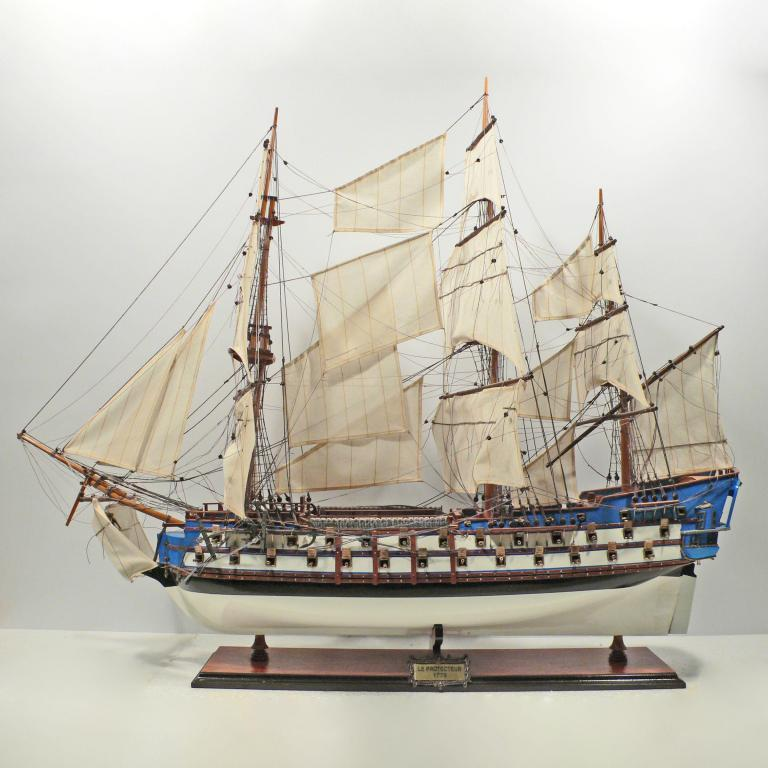 Handmade historical sailing ship model of the Le Protecteur