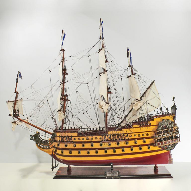 Handmade historical sailing ship model of the Le Soleil Royal
