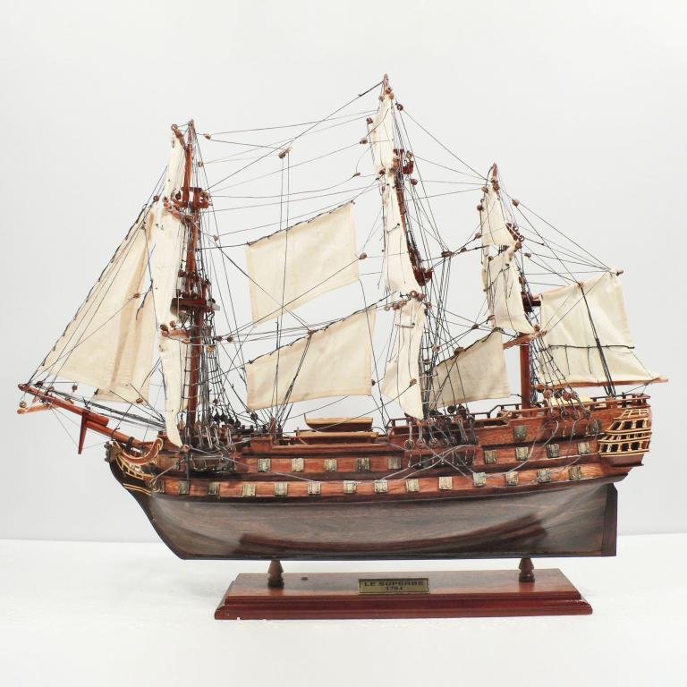 Handmade historical sailing ship model of the Le Superbe