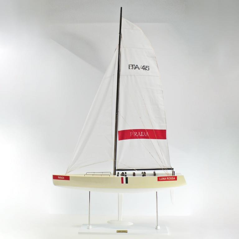 Handcrafted sailing ship model of the Luna Rossa