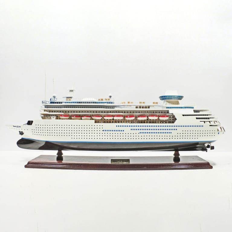 Handmade wooden cruise ship model of the Majesty of the Seas