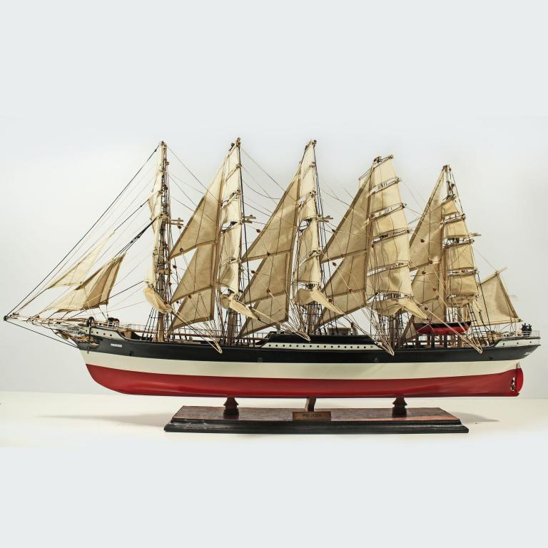 Handmade historical sailing ship model of the Preussen