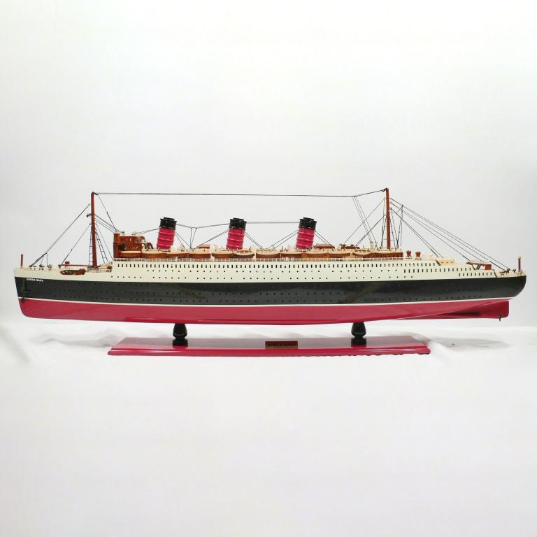 Handmade wooden cruise ship model of the Queen Mary