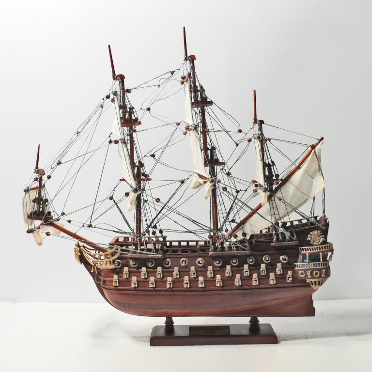 Handmade historical sailing ship model of the San Felipe