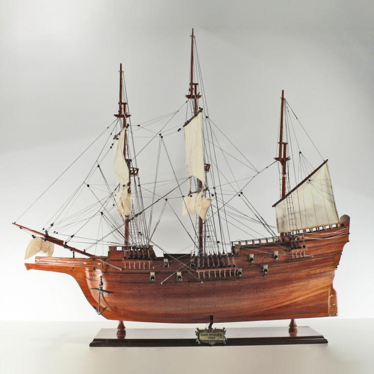Handmade historical sailing ship model of the San Miguel