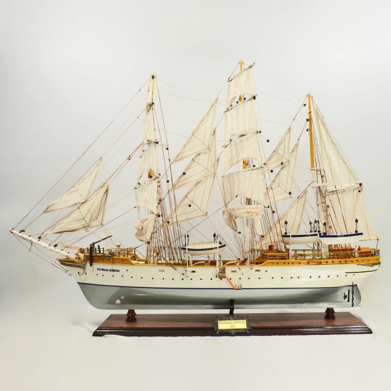 Handmade historical sailing ship model of the Statrad Lehmkuhl