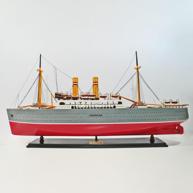 Handcrafted sailing ship model of the Stavangerfjord