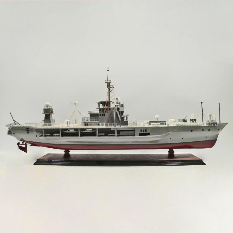 Handcrafted sailing ship model of the USS Blue Ridge