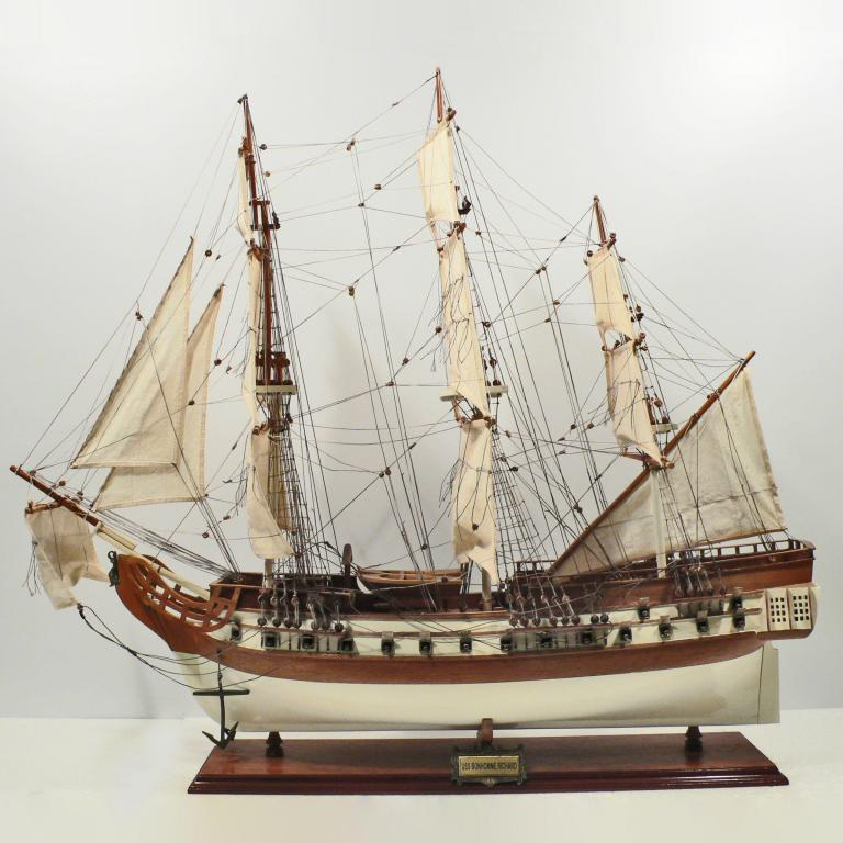 Handmade historical sailing ship model of the USS Bonhomme Richard
